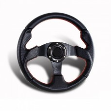 320mm Black with Red Stitch Leather Steering Wheel