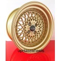 15x8.25  4X100  GOLD MESH  WHEELS