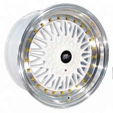 15x8 MST MT13  White With Polished Lip Rims 4x100 & 4x114.3