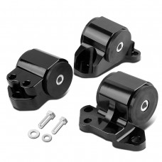 Motor Mounts Set for Civic & Del Sol & Integra in Billet Aluminum * Black * 3 Bolt