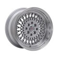 15x8 F1R F01 Super Mesh Style Wheels * Silver with Polished Lip