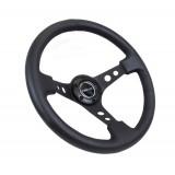 NRG Deep Dish Black Center Leather 350mm Steering Wheel