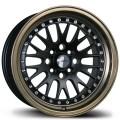 15x8 Avid1 AV12 Black Center with Bronze Lip Rims 4x100  & 4x114.3