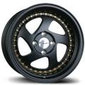 15x8  Avid1 AV19 Black with Gold Rivets Rims 4x100  * Whistler Style