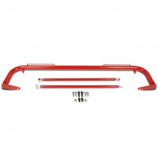"49"" Universal Safety Seat Belt Harness Bar with Support Rods (Red)"