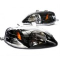 1999-2000 Honda Civic Black Housing Head Lights